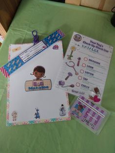 Stuff for my Daughter 5th Doc Mcstuffins birthday party check up game...clipboard with check up checklist, doctor name badge and patient wrist band.