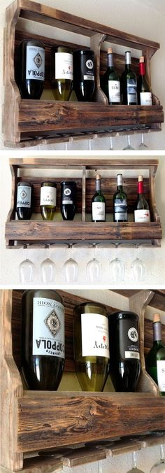 Natural Reclaimed Pallet Shelves | Wine Rack & Barware #diy #idea