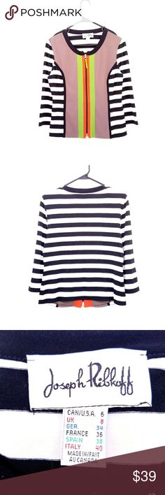 Joseph Ribkoff Black White Striped Color Block Top Zips down the front, vibrant colors Excellent condition  Feel free to ask me any additional questions! No trades, or modeling. Happy Poshing! Joseh Ribkoff Tops