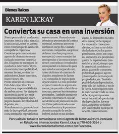 Amigos, los invito a leer mi columna en el periódico La Visión. Esta semana hablaremos de cómo funciona el proceso de convertir su casa en una propiedad de inversión. Disfruten!