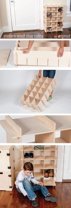 14 Smart Modern Shoe Storage Solutions to Get Rid of Shoe Piles Best Shoe Storage Ideas .Smart shoe storage ideas for your home Wood Shoe Storage, Shoe Cubby, Diy Shoe Rack, Cubby Storage, Diy Storage, Shoe Racks, Storage Ideas, Storage Stairs, Closet Storage
