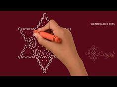 Creative Knotted star rangoli | Simple Sikku kolam | Chukki Rangoli with 1x9 dots - YouTube Simple Rangoli With Dots, Rangoli Simple, Kolam Dots, Padi Kolam, Special Rangoli, Rangoli Kolam Designs, Beautiful Rangoli Designs, Floor Art, Crochet Tablecloth