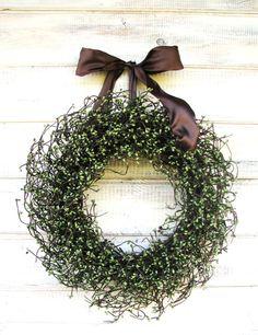 FALL WREATH- Sage Green & Chocolate Brown Door Wreath-Rustic Home Decor-Fall Wreath-Winter Door Decor-Custom Choose Scent and Ribbon Spiced Apples, Cinnamon Apples, Sugared Cranberries, Pecan Pralines, Brown Doors, Primitive Wreath, Fall Wreaths, Door Wreaths, Christmas Wreaths