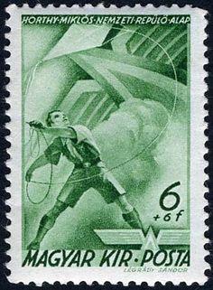 Stamp: Scout with kite (Hungary) (Horthy Flying Fund (I)) Mi:HU 623,Sn:HU B110,Yt:HU PA45,AFA:HU 584