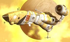 Yellow starship by Paul-Lloyd.devian on The Stars My Destination, Ship Sketch, Art Studio Room, Sci Fi Spaceships, 70s Sci Fi Art, Sci Fi Ships, Concept Ships, Concept Art, Space Pirate