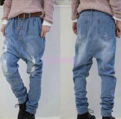 Ladies Denim Harem Ripped Cowboy Carpenter Drop Crotch Pants Jean Blue Loose