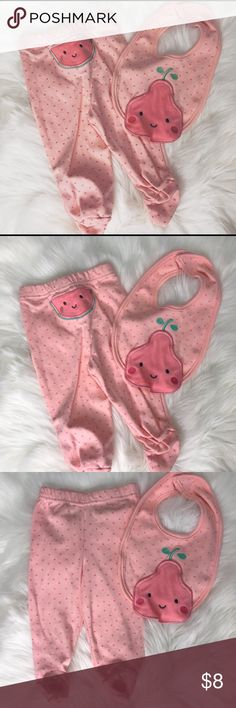 Baby Pants + Bib Condition: never worn only washed  Feel free to make me a •r e a s o n a b l e• offer!  Feel free to bundle for a •b e t t e r• price  (2nd photo will be realistic color, first photo just for cover) Chik Pea Bottoms Casual
