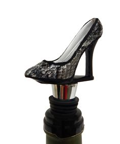 This beautiful black and snake skin shoe Wine Bottle Stopper at www.thewineboxessentials.com