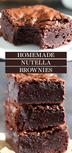 Nutella Brownies are perfectly thick, chewy, fudgy, and slightly gooey with a hint of chocolate hazelnut goodness. One of the best brownies I've ever had! This homemade, from-scratch recipe is so easy to make even though there's no boxed mix here!