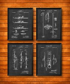ENSEMBLE de 4 affiches SKI, Art Print ou Art mur de toile, Illustration Vintage, Home Decor, Decor de Ski Lodge, Skis, ski, Ski Racing, cadeau s22