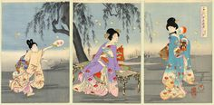 Women & Fireflies | Tattoo Ideas & Inspiration - Japanese Art | Chikanobu (Triptych), 1896. From the Chiyoda Inner Palace (Chiyoda no O-Oku) Series | #Japanese #Art #Firefly