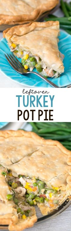 Turkey Pot Pie - an easy recipe that's a great way to use up leftover turkey or chicken! My family loved this pie.