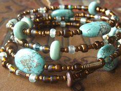 Aqua Green and Bronze Multi Strand Bracelet / love the color combination
