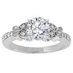 Round Diamond Butterfly Vintage Engagement Ring