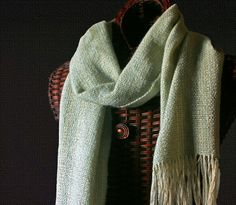 Handwoven Scarf Mohair & Cotton Seafoam Green by AllMyCreations, 68.00