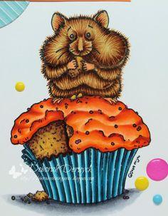 Copic Marker Europe: Cupcake? What cupcake? Copic colours used: Hamster: E59, E37, E35, E33, E31 legs: E02 orange topper: E08, YR07, YR04, YR02, YR00 cake: E29, E25, E23, E31, E21 paper: N7, BG09, BG05, BG01, BG000 ground: C05, C03, C01 sprinkles: RV17