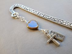 Cross Shepherd Hook Bookmark-Hope and Cross Charm by ZipsandMore