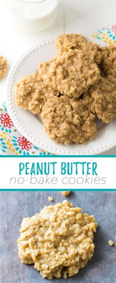 Peanut Butter No-Bake Cookies - So simple, just like mom used to make them! These easy peanut butter no-bake cookies are a fantastic and quick treat that the whole family will adore. Our chewy, classic peanut butter no bake cookies are totally addictive! Dessert Oreo, Cookie Desserts, Easy Bake Desserts, Easy No Bake Recipes, Quick And Easy Recipes, Quick And Easy Sweet Treats, Fast Dessert Recipes, Appetizer Dessert, Cheap Recipes