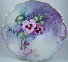 Ann Zitterkopf Studio - Lovely Fluted Porcelain Plate with Handles. Decorated in Blue and Lilac with Pansies and Leaves
