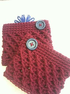 Boot Cuff in Rich Burgandy for Adults and Teens by GrammaLeas on Etsy