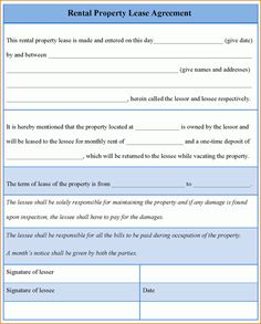 7 Rental Lease Agreement Template Word Printable Receipt Doc For Property Example Of Rental : Masir