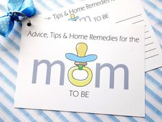 DIY Baby Shower Advice Printable Cards for a Baby Boy