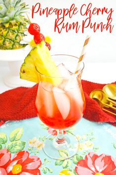 This beautifully delicious pineapple cherry rum punch cocktail is so easy to make and the perfect tropical drink for sipping this summer!