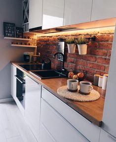 Kitchen Inspiration : zoltyfotelThe Definitive Source for Interior Designers Balkon – home accessories Loft Interior, Kitchen Interior, Interior Design, Design Loft, Budget Home Decorating, White Kitchen Decor, Home Improvement Loans, Brick Design, Kitchen Trends