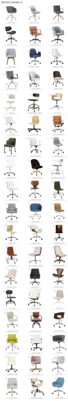 Office Chair Roundup - Emily Henderson When it comes to office chairs it usually means function over form. Frankly, its such a boring but necessary thing to buy. Home Office Chairs, Home Office Furniture, New Furniture, Sectional Furniture, Office Table, Furniture Outlet, Design Furniture, Chair Design, Furniture Layout