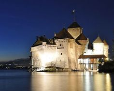 Chillon Castle is located on the banks of Lake Geneva