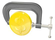 Gold coin in clamp concept Royalty Free Stock Photos