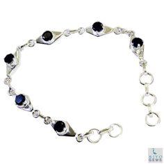 Riyo-Black-Onyx-Chunky-Jewellery-Silver-Chain-Bracelet-L-7-5in-Sbrabon-6007