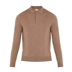 Paul Smith Long-sleeved fine-knit wool polo shirt (11.015 RUB) ❤ liked on Polyvore featuring men's fashion, men's clothing, men's shirts, men's polos, beige, mens wool shirts, mens polo shirts, mens merino wool polo shirts, mens long sleeve polo shirts and mens slim fit long sleeve shirts