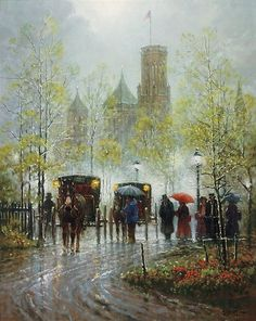 Harvey is well known for his cityscapes and western scenes including cowboys in cities - available on limited edition prints, giclee canvases and posters. Old Paintings, Paintings I Love, Kinkade Paintings, Norman Rockwell Art, Cool Artwork, Amazing Artwork, Art Deco Posters, Old Art, Paris