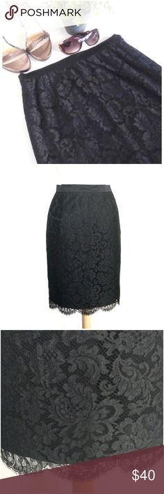 """Escada Black Lace Skirt Authentic Escada Black Lace skirt.  Laying flair it measures about 13 1/2"""" across the waistband and 22"""" in length.  Black floral lace with scalloped edge, silk lining, hidden side zipper.  In great pre-owned condition.  No trades. Escada Skirts"""
