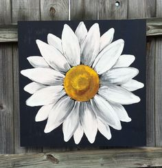 Large Dark Blue Black and White Daisy Painting on Wood Panel Flower Art Navy…