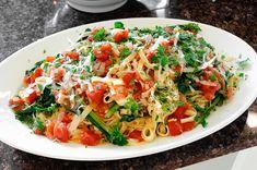 Fresh Fettuccine with Broccoli Raab in a Lemony Tomato Sauce