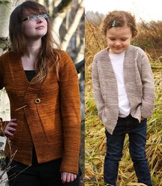 Free knitting pattern for Harvest Cardigan for the Whole Family - Tin Can Knits designed this easy cardigan sweater for the whole family with garter stitch borders. Sizes for the whole family from 0-6 months to 4XL