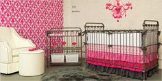 So much girly girl fun in one space! Start with shades of cool grays add hot pink throughout and voila, instant girl glam! Nursery Inspiration, Nursery Ideas, Best Changing Table, Iron Crib, Pink Crib Bedding, Girls Furniture, Girl Nursery, Nursery Room, Beautiful Baby Girl