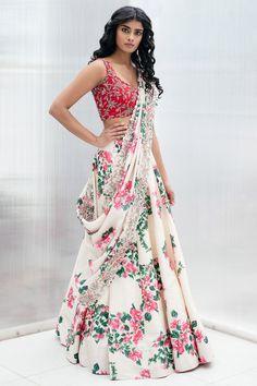 Buy Printed Lehenga Set by Mrunalini Rao at Aza Fashions - Buy Printed Lehenga Set by Mrunalini Rao at Aza Fashions - Indian Fashion Designers, Indian Designer Outfits, Designer Dresses, Indian Fashion Modern, Indian Outfits Modern, Floral Lehenga, Lehenga Choli, Blue Lehenga, Sharara