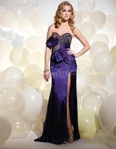 ec23923f089b Bowknot Trimmed Beaded Satin Royal Blue Prom Dress Royal Blue Prom Dresses