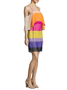Trina Turk Striped Cold-Shoulder Butterfly Silk Dress