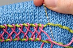 Embroidery knitting. Interlacing stitch. ETA would be pretty on a crocheted hat or sweater or something. :)