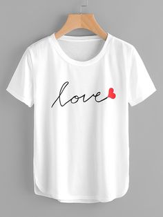 861dc41b7449a6 Letter Print Dolphin Hem Tee Camisas Estampadas, Camisetas Bordadas,  Camisetas Mujer, Remeras Frases