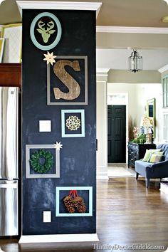 black chalkboard wall with frames