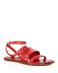 Bernardo Women's Studded Leather Ankle Strap Sandals