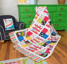 Robert Kaufman Celebrate Seuss IV Pairs of Squares Quilt - Quilting Kit includes Fabric & Pattern!