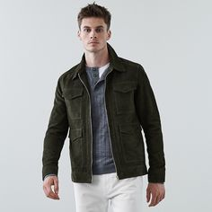 48efb3a83 Cole Haan Suede Varsity Jacket - Sand L | Products | Mens tops ...
