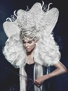 Hair, creative hair, hair-styling, cruel, crown, white, height, structure