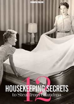 Old-time Housekeeping Tricks - Get your household cleaning tasks done like grandma did with these time-tested ways to keep your home clean and tidy. Household Cleaning Tips, House Cleaning Tips, Deep Cleaning, Spring Cleaning, Cleaning Hacks, Household Organization, Cleaning Schedules, Household Products, Cleaning Recipes